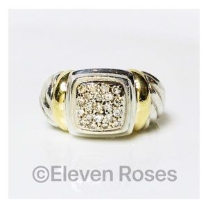David Yurman Sterling & 18k Gold Pave Diamond Ring